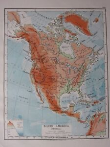 Prairies In North America Map.1904 Map North America Physical Land Heights Rocky