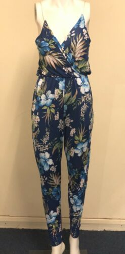 12 Blue floral Summer Jumpsuit With Pockets Sizes; 10