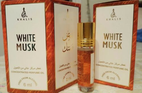 Box Of 6 White Musk 6ml by Khalis Floral Spicy Musky Amber Animalic Perfume oil