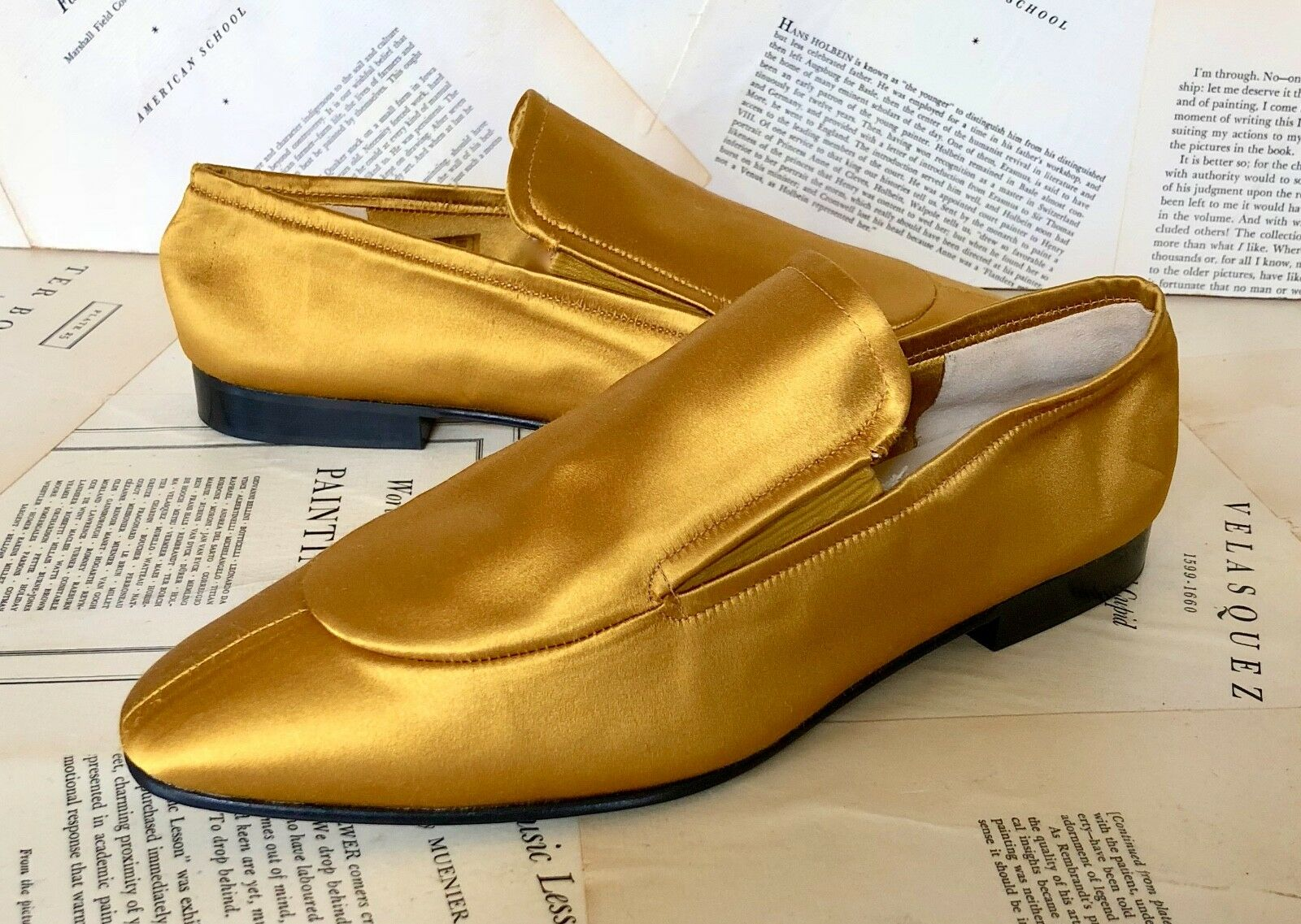 NEW Joseph yellow gold Satin Bought at Anthropologie Slip On Flat Loafers 38 7.5