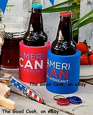 AmeriCAN Not AmeriCAN'T Soda Pop Beer Can Cooler Coozie Red 4th of July Lake New