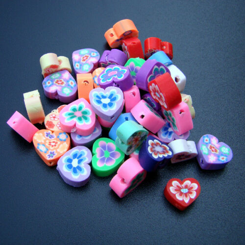 10 unidades Fimo perlas corazón polímero Clay joyas Mix 10mm-p00152x4-eiv