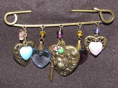 Vintage Glass Works Studio Rhinestones Dangling hearts key Charms Safety PIN