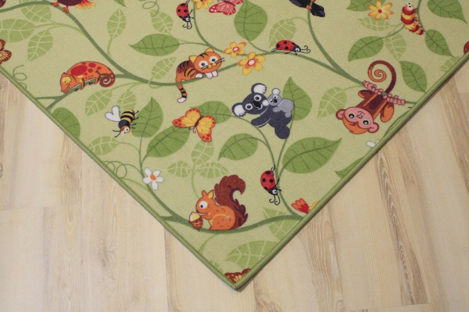 Enfants Tapis Tapis de Jeu Jungle Velours Vert 200x430 cm Jungle