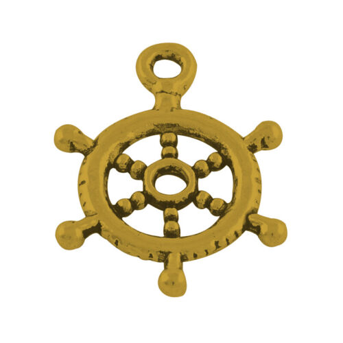 10 Ship Wheel Charms Antiqued Gold Nautical Helm Pendants Ocean Jewelry Supplies