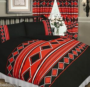Seuls-hommes-noir-rouge-blanc-diamant-lignes-rayures-carres-parures-de-lit-ou-rideaux