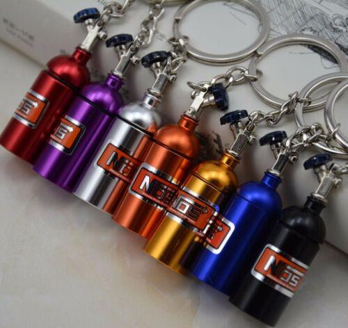 Keychain NOS Mini Nitrous Oxide Bottle Keyring Stash Pill Box Storage 7 Colors