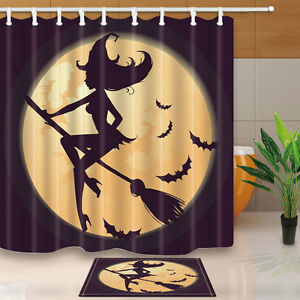 Image Is Loading Halloween Witch Theme Shower Curtains Bathroom Rugs Waterproof