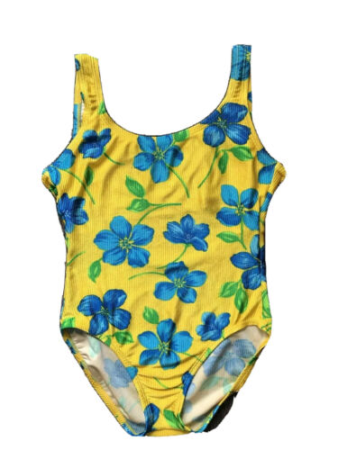 Vintage 90s Neon Pink Yellow Floral High Waisted Ribbed One Piece Swim Suit L