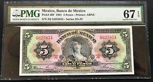 1961-Mexico-Banco-de-Mexico-5-Pesos-P-60f-PMG-67-EPQ-SUPERB-GEM-UNC-Serial
