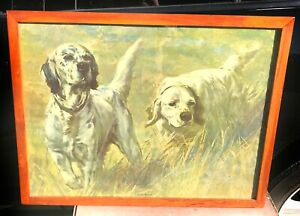 Vintage-English-Setters-Bird-Dog-Hunting-Dogs-Collectible-Print-Framed-Up-Close