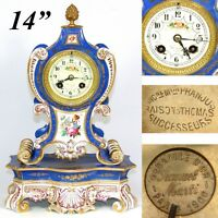 "Antique French Porcelain 14"" Mantel Clock, Gold Enamel, HP Flowers, S Marti 1900"