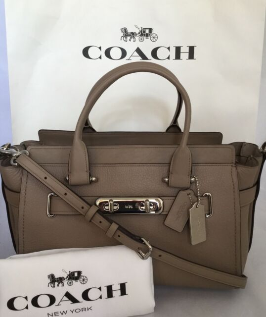 Coach 87298 Swagger Large Carryall Pebbled Leather Handbag Sv Stone Nwt
