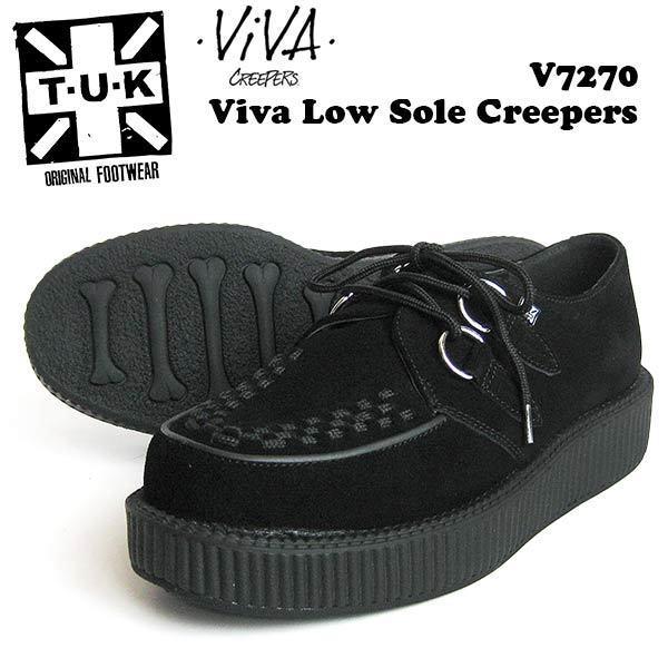 Camoscio black t-u-k basse suola VIVA Creepers v7270