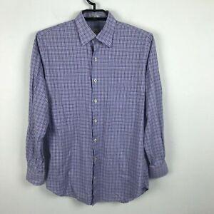 Peter-Millar-Mens-Purple-Plaid-Button-Up-Dress-Shirt-Single-Pocket-Size-Medium-M