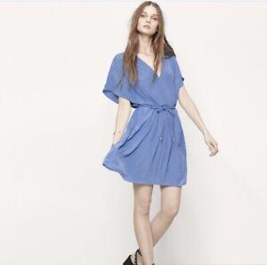 Maje-Roxus-Dress-3-Blue-Dolman-Sleeve-V-Neck-Robe-Pocket-Pleated-NWT-295