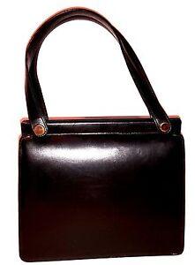 Vintage Damen Handtasche Echt Leder schwarz