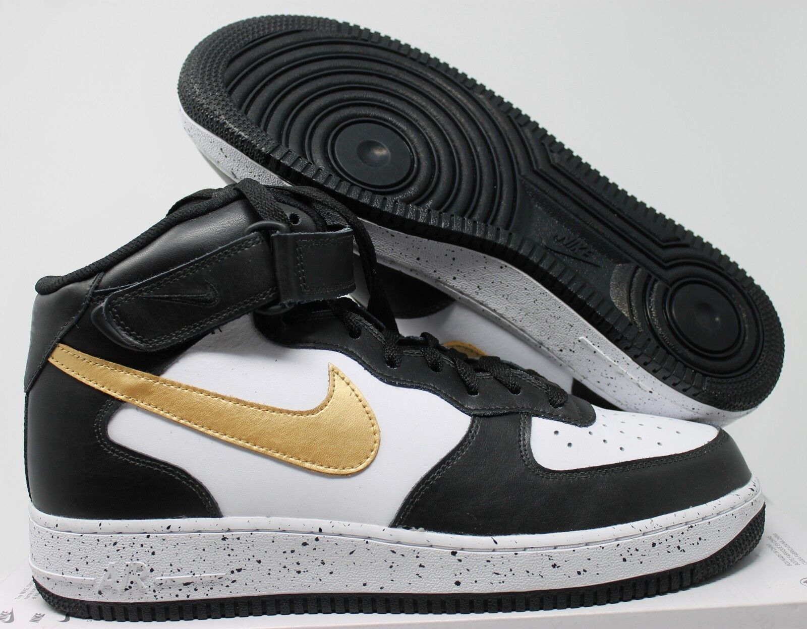 NIKE AIR FORCE 1 HIGH ID BLACK-WHITE-gold SZ 11.5 [AQ3776-991]