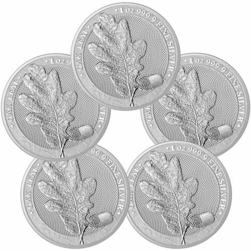 Lot of 5 2019 Germania Mint Oak Leaf Medal 1 oz Silver Medal GEM BU SKU60061
