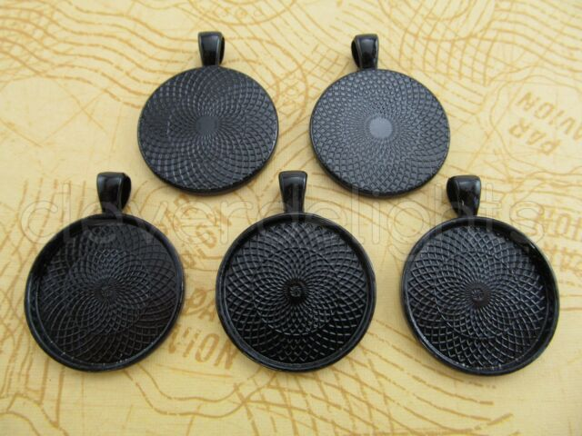 "Round Pendant Trays - 1"" - 25mm - Antique Bronze Copper Silver Black - 1 Inch"