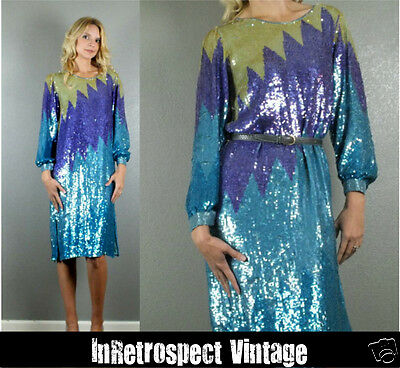 VTG 80's All Over Disco Colorblock Poet Sleeve Sequin Glam Evening Dress S/M