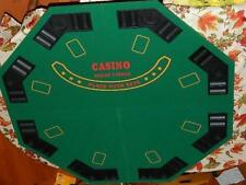 Poker Table Top in Carrying Case Green Octagon 8-Player 48 in Four-Fold-Folding
