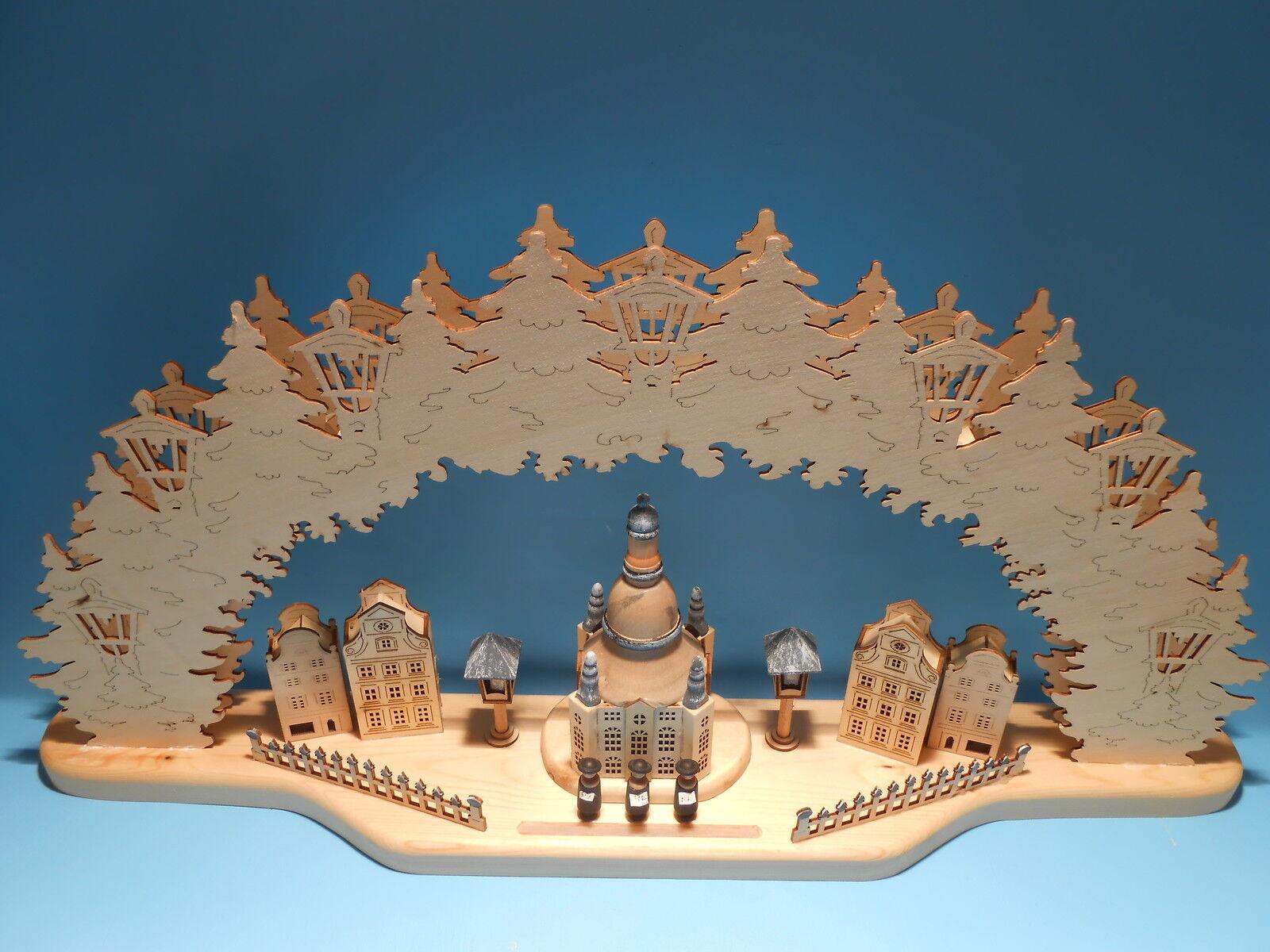 Lichterbogen Schwibbogen 3D Frauenkirche Dresden beleuchtet 77 cm 10001