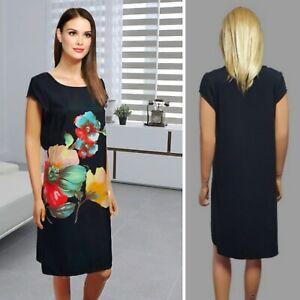 M&CO  DRESS SIZE 12 BLACK SHORT SLEEVE SHIFT FLORAL PRINT KNEE LENGTH #32