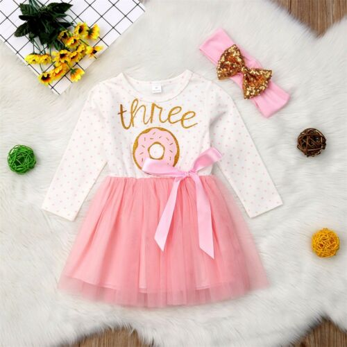 Newborn Baby Girl My 1st Birthday Donut Dress Rainbow Tulle Skirt Outfits Set
