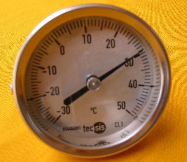 Tecsis Bimetall Thermometer - 30 bis + 50°C, d =  63 mm, 45 x 8 mm, Edelstahl