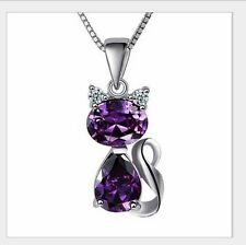 Silver Hello KITTY CAT PENDANT NECKLACE Amethyst Blue Purple CRYSTAL Gift Box A9