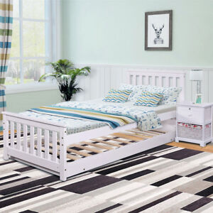 Day Bed Sofa Single Double Bed Pull Out Trundle White Wooden Frame