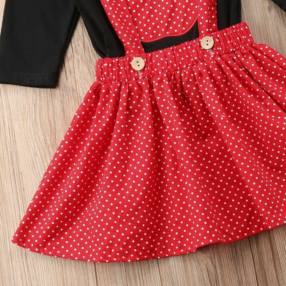 NEW Girls Apple Shirt Red Polka Dot Suspender Skirt Outfit Set Back to School