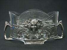 ANTIQUE WMF? SILVER 925 STERLING GLASS JARDINIERE CENTERPIECE BOWL ART NOUVEAU x