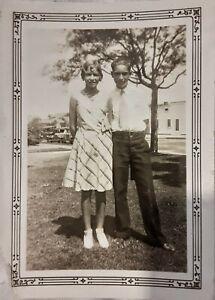 Vintage 1920's Photo of Cute Teenage Couple Boy & Girl Wearing Short Skirt Hair