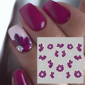 Nail-Art-Water-Decals-Stickers-Transfers-Water-Effect-Deep-Purple-Flowers-769
