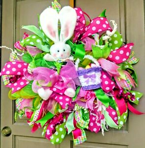 Handmade-Easter-Bunny-Deco-Mesh-Wreath-Pink-amp-Green-Polka-Dot-Spring-Door-Decor