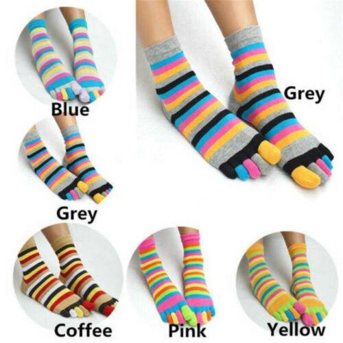 NEW Fashion Women/'s Girl Colorful Striped Five Finger Toe Socks Rainbow Sock