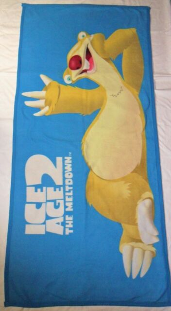Ice Age 2 Fleece Blanket Throw 30 x 60 The Melt Down Sid Sloth Blue Polyester