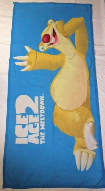 Ice Age 2 Fleece Blanket Throw 30 x 60 The Melt Down Sid Sloth Blue Polyester