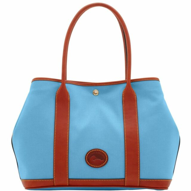 baf1174b02c2 Dooney   Bourke Layla Nylon Tote Handbag Dusty Blue   Brown Leather Trim