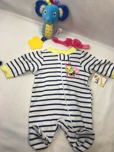 "1 One Nursery Time Preemie Footie Outfit Fit LuvaBella Reborn 18"" Baby Doll 2pc"