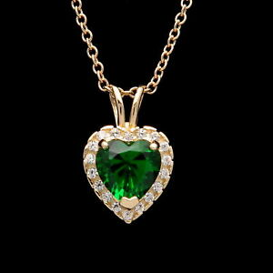 1CT-Halo-Emerald-Green-Heart-Created-Diamond-Pendant-Solid-14k-Yellow-Gold-Charm