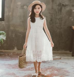 Kinder Mädchen Kleid Weiß Spitzenkleid Hochzeit Abendkleid Party Festkleid
