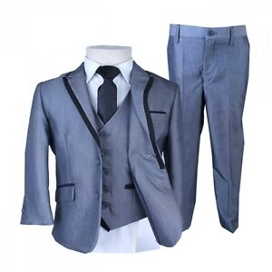 Boys Black Piping Silver Suit Pageboy Suits Kids Suits Children ...