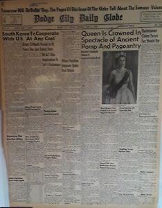 1953-Vintage-Newspaper-Queen-Elizabeth-II-Crowned-Britain-039-s-Seventh-Queen