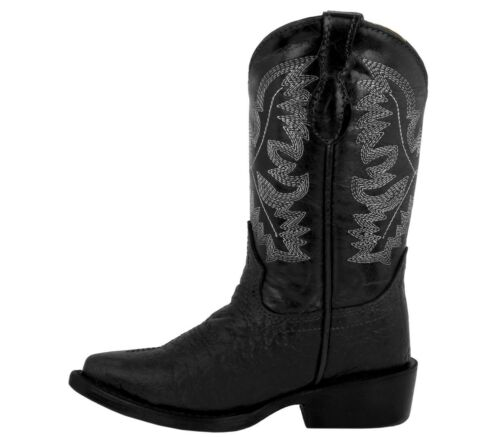 Boys Toddler Black Buffalo Bison Cowboy Boots Western Leather Point Toe Children