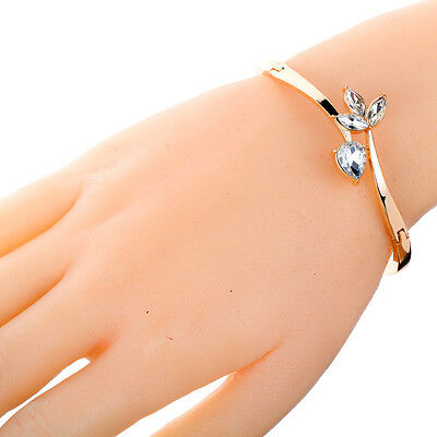 Vogue Cute Rose Gold Slender Inlay Flower WaterDrop Crystal Chain Bracelet Gift