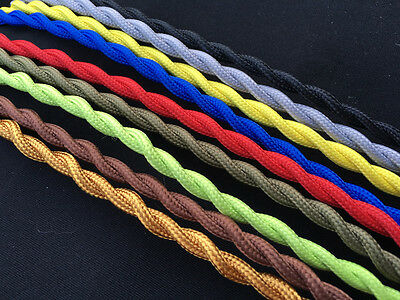 3M/5M  ANTIQUE BRAIDED WIRE WOVEN FABRIC LAMP CABLE CORD LIGHT ELECTRIC 2 CORE