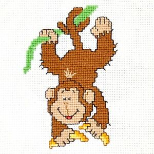 Monkey-Cross-Stitch-Kit-for-Beginners-Animals-Embroidery-Set-DIY-Kit-for-Kids